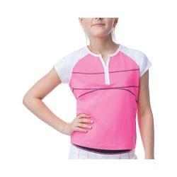 Girls' Fila Glow Cap Sleeve Top Knockout Pink/White/Peacoat