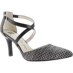 Women's Anne Klein Fion Heel Black/Black/White Leather