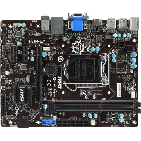 MSI H81M-E34 Desktop Motherboard - Intel H81 Chipset - Socket H3 LGA-