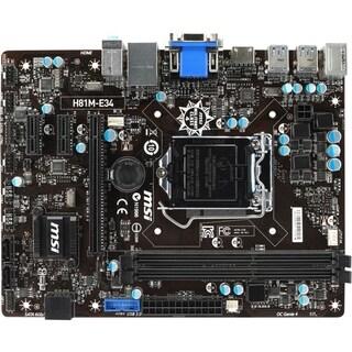 MSI H81M-E34 Desktop Motherboard - Intel H81 Chipset - Socket H3 LGA-