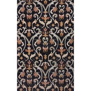 nuLOOM Hand-hooked Persian Wool Dark Blue Rug (5' x 8')