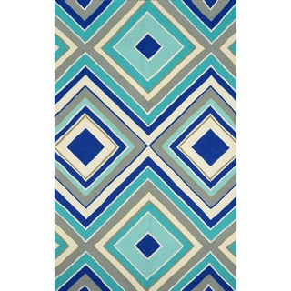 nuLOOM Hand-hooked Outdoor Synthetics Blue Rug (9' x 12')