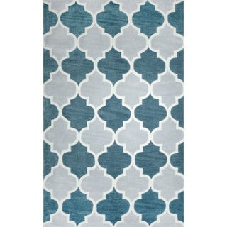 nuLOOM Hand-tufted Trellis Synthetics Light Blue Rug (5' x 8')