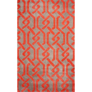 nuLOOM Hand-tufted Chain Trellis Synthetics Red Rug (8' 6 x 11' 6)