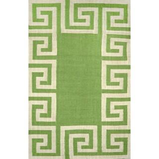 nuLOOM Indoor/ Outdoor Flatwoven Greek Key Synthetics Mint Rug (5' x 8')