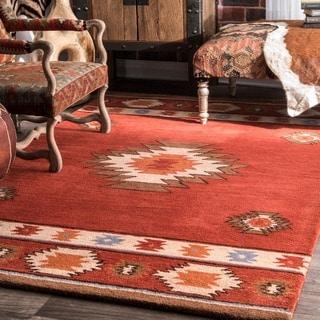 nuLOOM Hand-tufted Southwestern Wool Wine Rug (7' 6 x 9' 6)