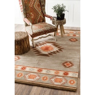 nuLOOM Hand-tufted Southwestern Grey Wool Area Rug (7'6 x 9'6)