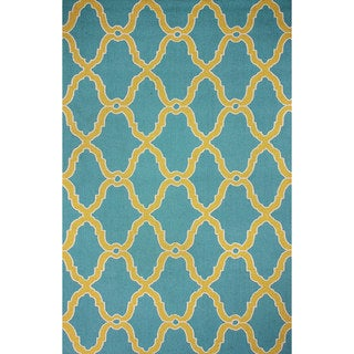 nuLOOM Hand-hooked Moroccan Trellis Wool Blue Rug (8'6 x 11'6)