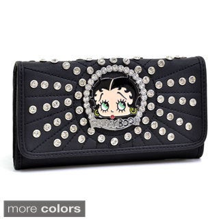 Betty Boop Rhinestone and Multi-studded Checkbook Wallet