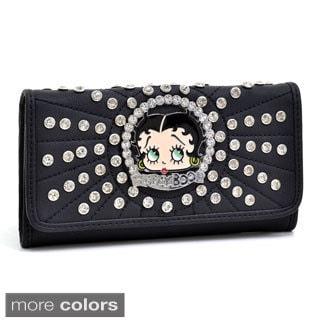Betty Boop Rhinestone and Multi-studded Checkbook Wallet