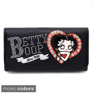 Rhinestone Heart Betty Boop Checkbook Wallet