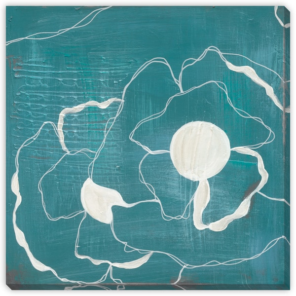Poppy Outline on Turquoise I Oversized Gallery Wrapped Canvas