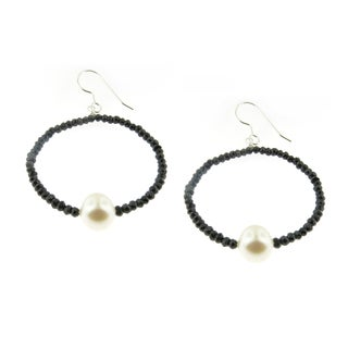 Handmade Faceted Black Spinel Gemstone and Pearl (7 mm) Hoop Earrings (USA)