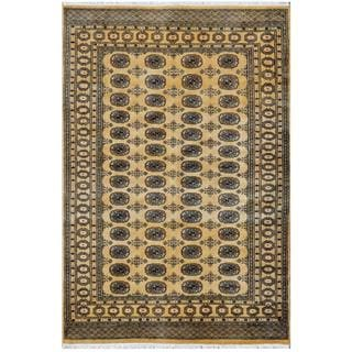 Pakistani Hand-knotted Bokhara Tan/ Gold Wool Rug (5'2 x 7'8)