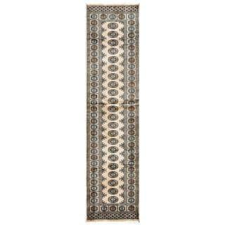 Pakistani Hand-knotted Bokhara Beige/ Ivory Wool Rug (2'6 x 10'3)