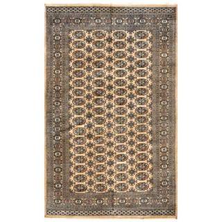 Herat Oriental Pakistani Hand-knotted Bokhara Tan/ Ivory Wool Rug (4'10 x 7'10)