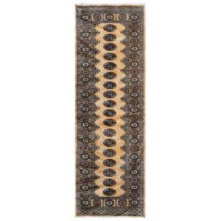 Pakistani Hand-knotted Bokhara Tan/ Ivory Wool Rug (2'7 x 7'9)