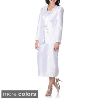 Giovanna Signature Women's Stone-embroidered 3-piece Skirt Suit