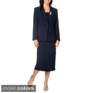 Giovanna Signature Women's Shawl Collar 2-piece Skirt Suit