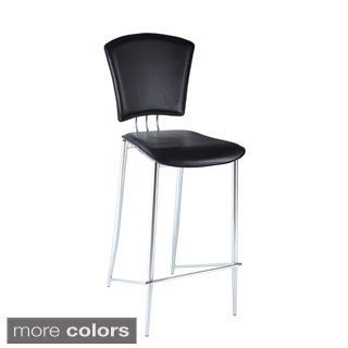 Chrome/ Black Vinyl Bar Height Stool (Set of 2)