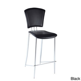 Chrome/ Black Vinyl Counter Height Stool (Set of 2)