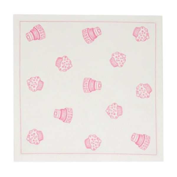 Mydrap Ecru Cupcake Printed Tear-off 12-piece Disposable Cotton Luncheon Napkin