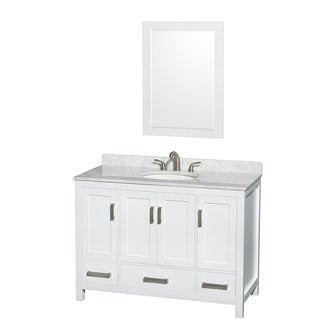 Wyndham Collection Sheffield 3-hole Faucet White Wood 48-inch Single Vanity