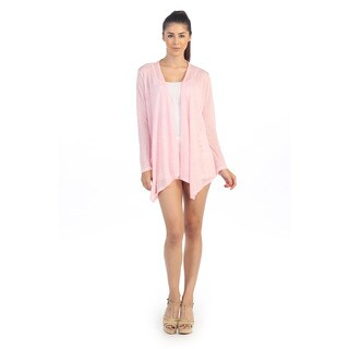 Hadari Women's Light Pink Basic Open-front Cardigan