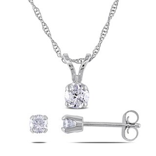 Miadora 10k White Gold 1/2ct TDW Diamond Earrings and Necklace Set (J-K, I2-I3)