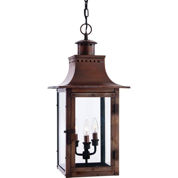 Chalmers 3 Light Aged Copper Large Hanging Lantern