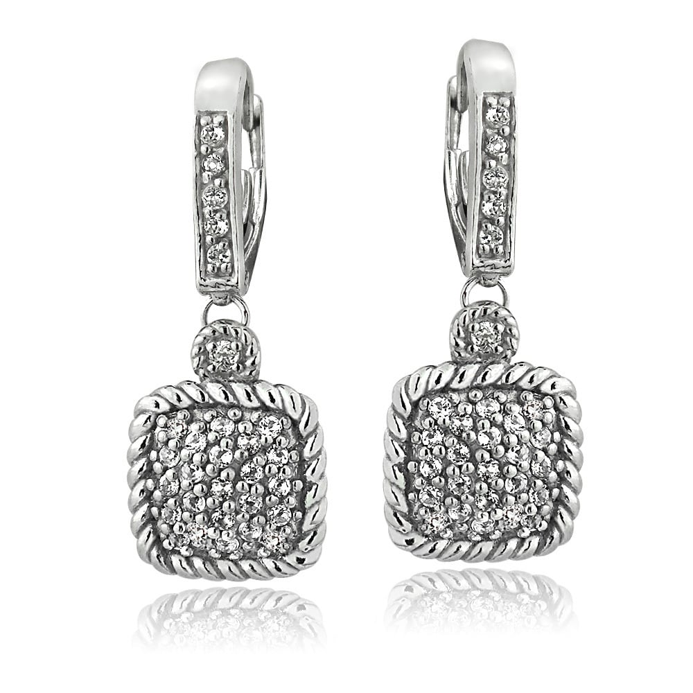 Glitzy Rocks Glitzy Rocks Silvertone Gemstone and White Topaz Square Rope Leverback Earrings