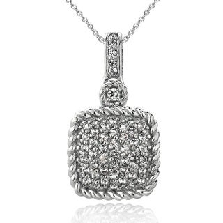 Glitzy Rocks Silvertone Gemstone and White Topaz Square Rope Necklace