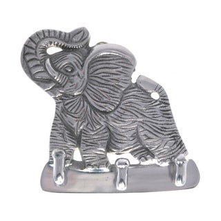 Handcrafted Pewter Elephant 3-Ring Key Holder (India)