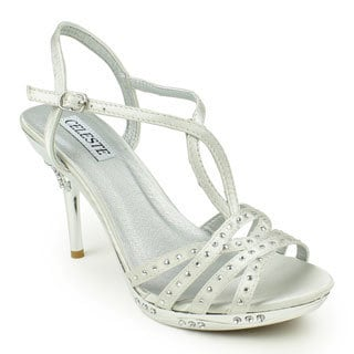 Celeste Women's 'Gaga-09' Satin T-strap Chrome Heel