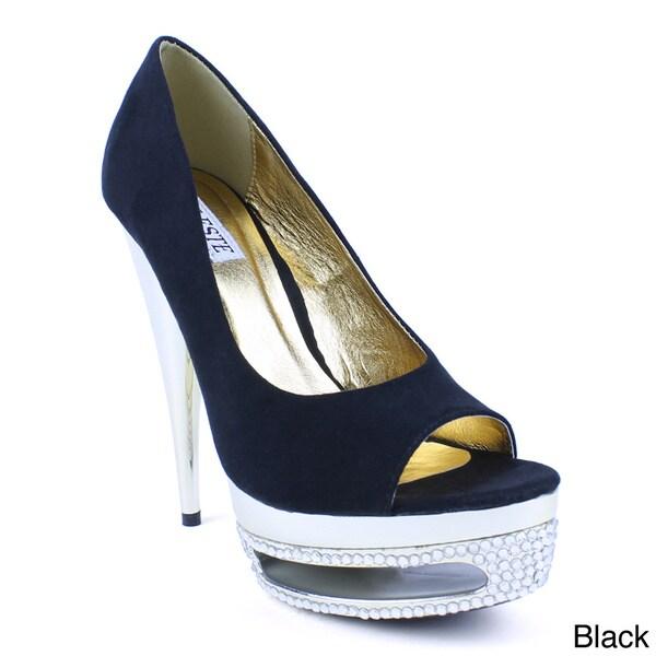 Celeste Women's 'Freida-09' Faux Suede Chrome Cone High Heels