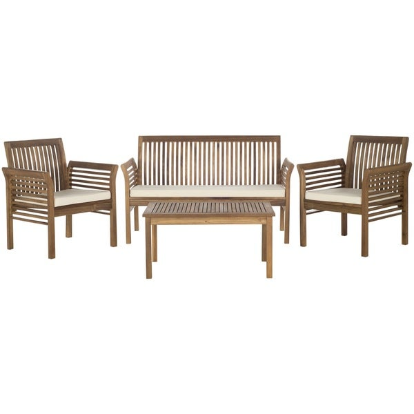 carson teak finish brown acacia wood 4 piece outdoor furniture set
