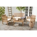 review detail Safavieh Carson Teak Finish Brown Acacia Wood 4-piece Outdoor Furniture Set
