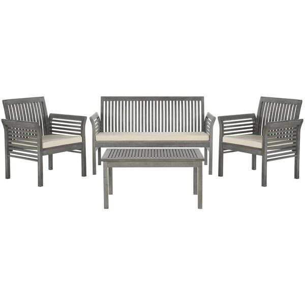 Carson Grey Wash Wood 4 Pc Outdoor Furniture Set Patio