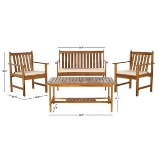 Safavieh Burbank Teak Finish Brown Acacia Wood 4-piece Outdoor Furniture Set