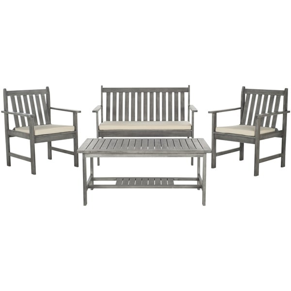 safavieh burbank grey wash acacia wood 4 piece outdoor furniture set