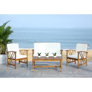 Safavieh Fontana Teak Finish Beige Acacia Wood 4-piece Outdoor Furniture Set