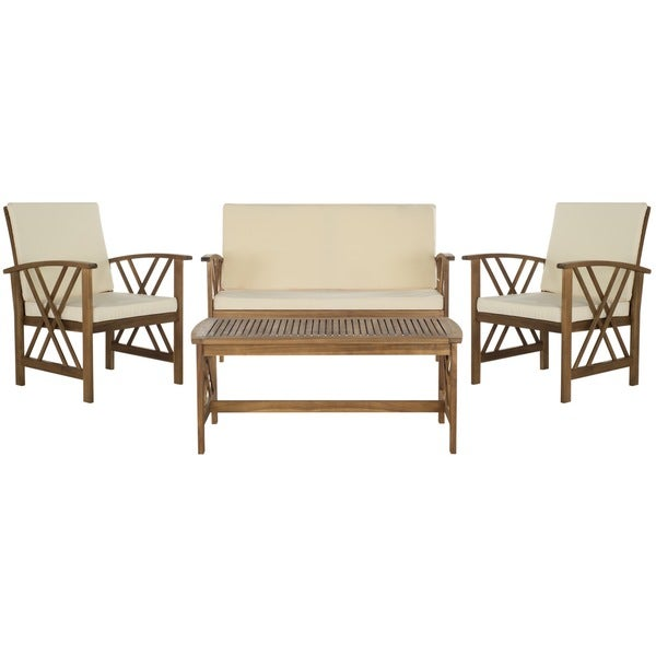 ... Fontana Teak Finish Beige Acacia Wood 4 Piece Outdoor Furniture Set ...
