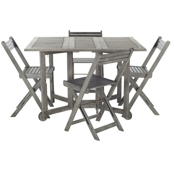 arvin teak grey wash acacia wood 5 piece outdoor dining table set