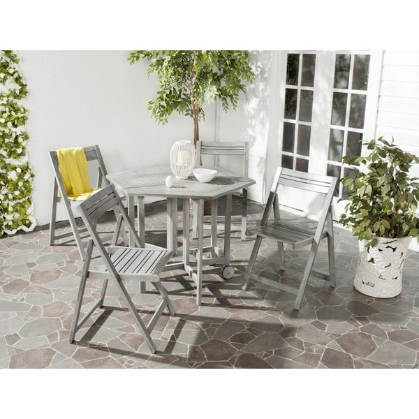 safavieh kerman grey wash acacia wood 5 piece outdoor dining table set