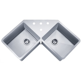 Wells Sinkware 16 Gauge Handcrafted 'Butterfly' Undermount Double Bowl Stainless Steel Kitchen Sink Package