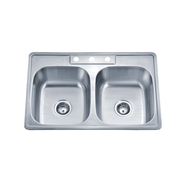 Wells Sinkware 20 Gauge ADA Topmount Double Bowl Stainless Steel Kitchen Sink Package