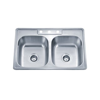 Wells Sinkware 20 Gauge ADA Topmount Double Bowl Stainless Steel Kitchen Sink Package