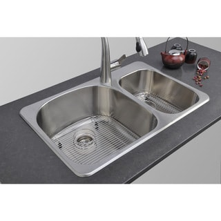 Wells Sinkware 18 Gauge Double Bowl Topmount Stainless Steel Kitchen Sink Package
