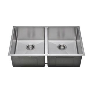 Wells Sinkware Commercial Grade 16 Gauge Handcrafted Double Bowl Undermount Stainless Steel Kitchen Sink