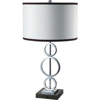 Single light Silver 3 ring Table Lamp with Outlet Base